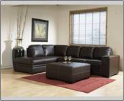 Drk Brown Leather Sectional In Boxes
