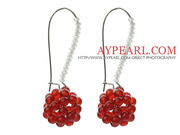 Fashion Style Carnelian and Milk Color Crystal Earrings