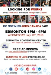 EDMONTON JOB FAIR - JULY 10TH,  2019